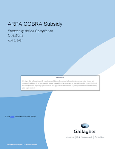 ARPA COBRA Subsidy Frequently Asked Questions