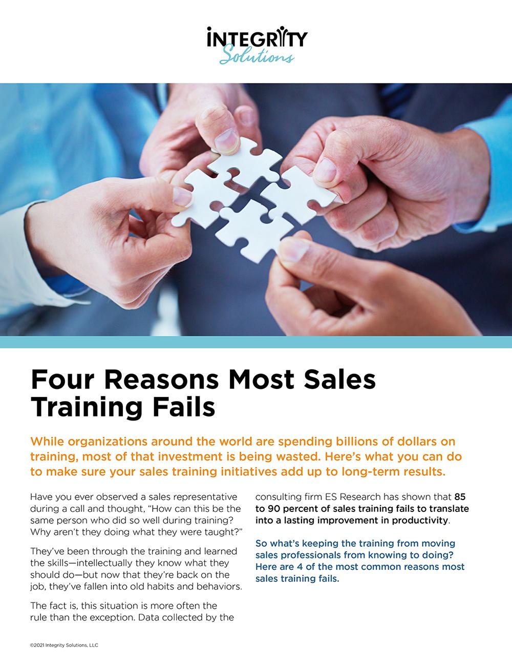 4 Reasons Most Sales Training Fails