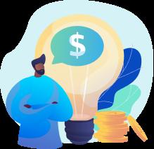 Homem de braços cruzados falando sobre dinheiro, com uma lâmpada e moedas atrás