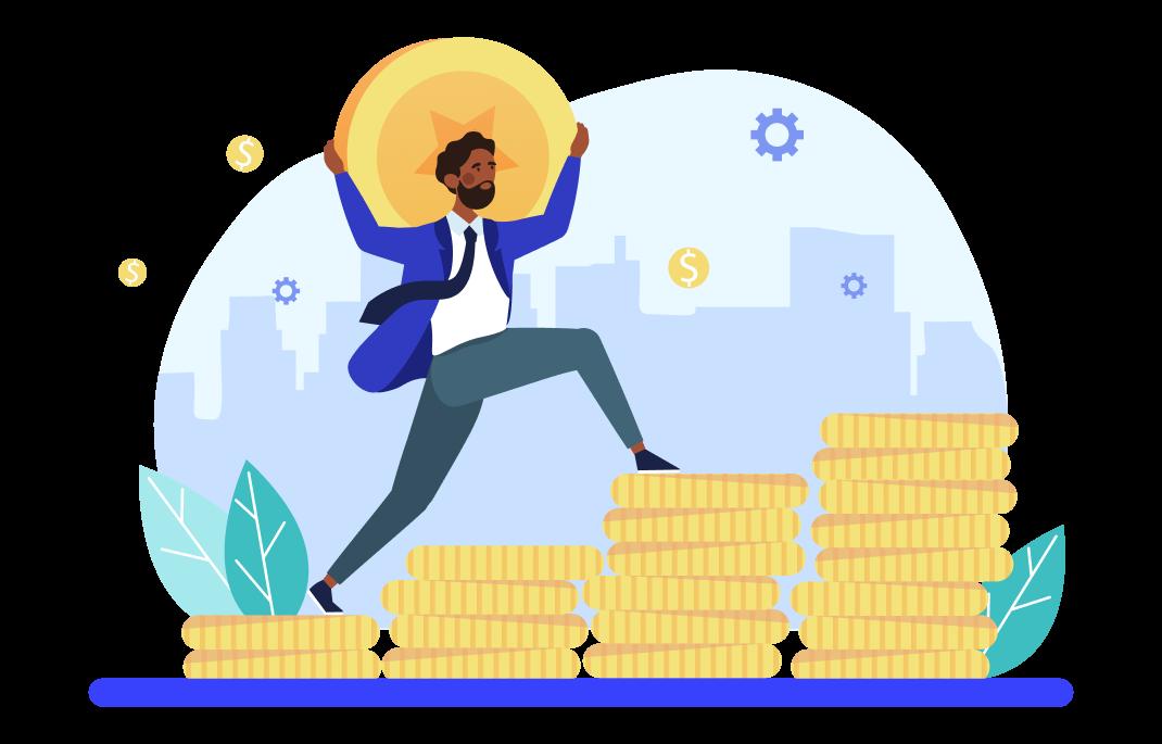 Homem subindo moedas enquanto carrega uma moeda