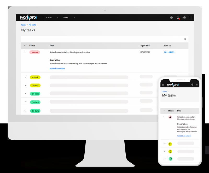 Portal My Tasks screen