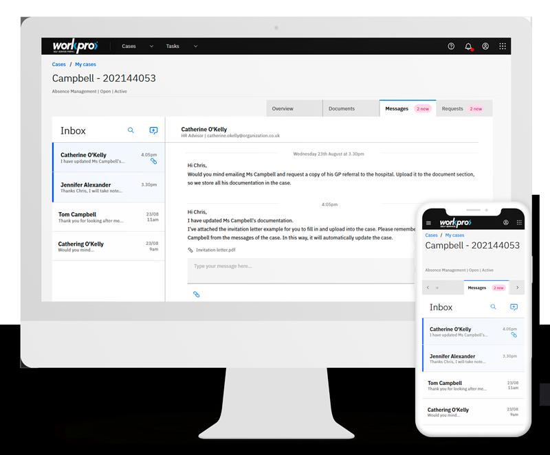 Portal Case Messages screen